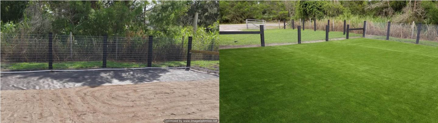 synthetic turf insallation before and after oviedo
