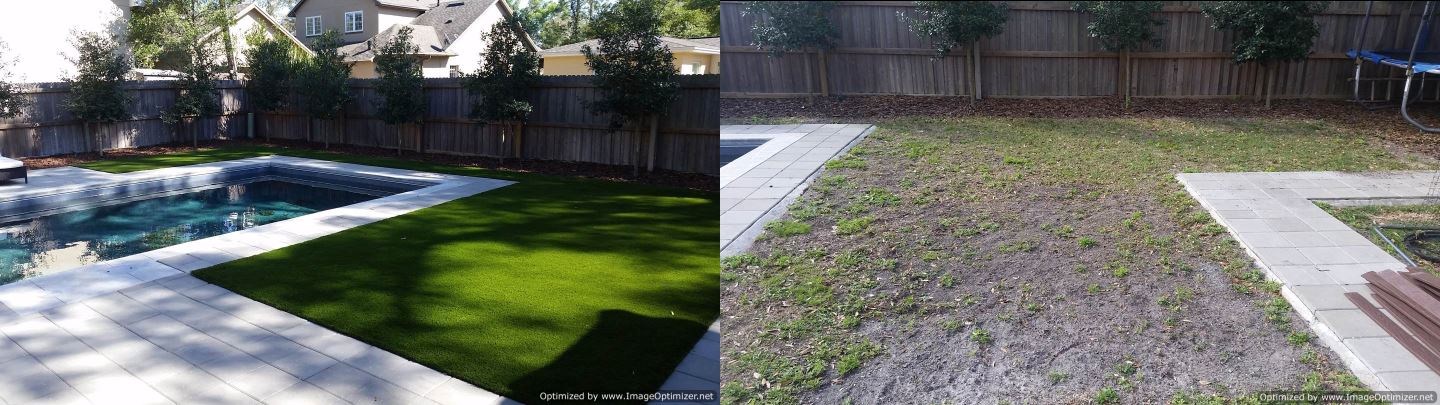 Synthetic turf before and after installation